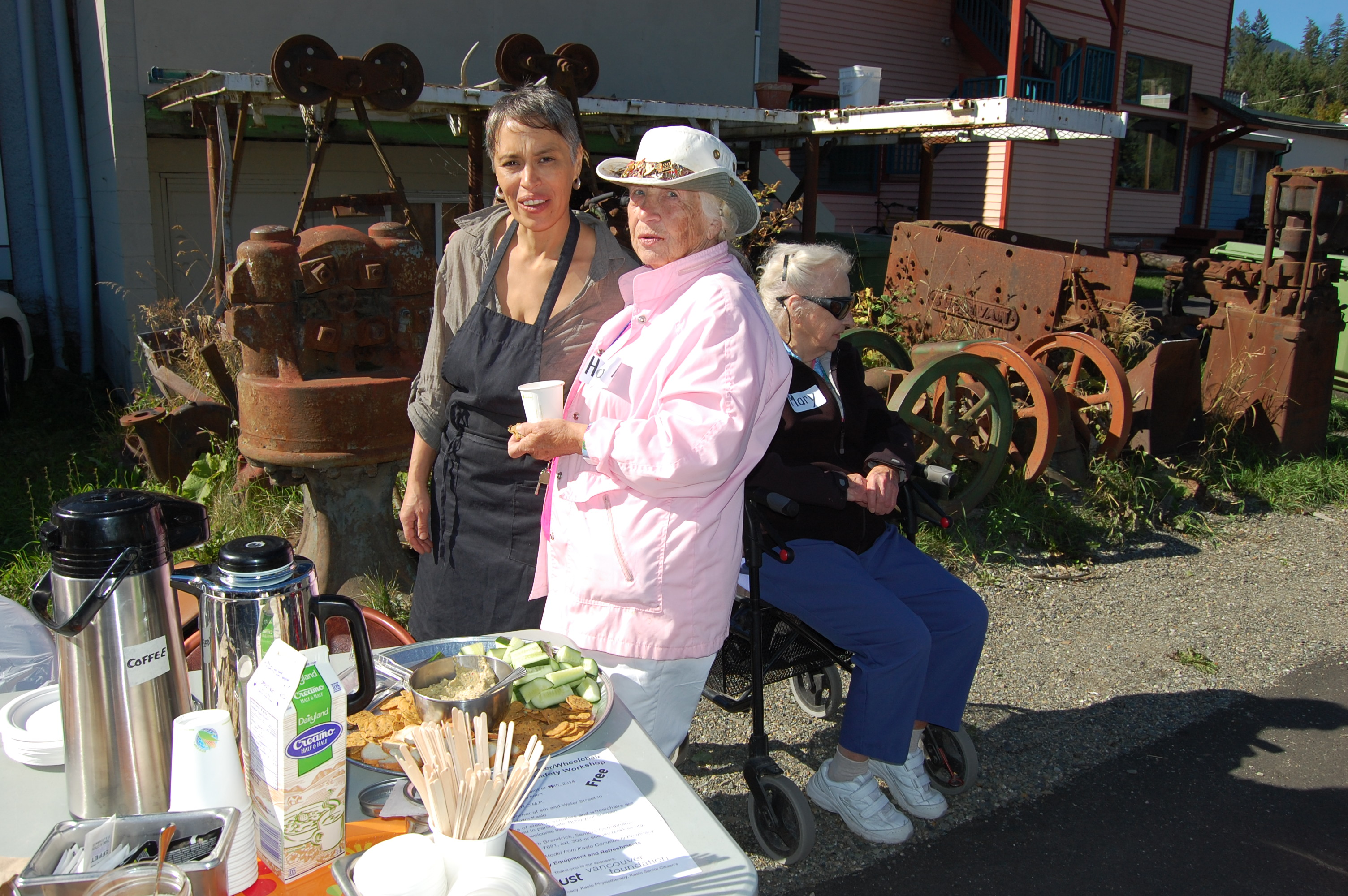 seniors enjoying snacks at a scooter safety event